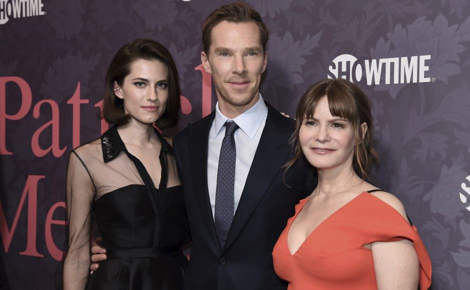 (From L-R) Allison Williams, Benedict Cumberbatch and Jennifer Jason Leigh attend the LA premiere of Patrick Melrose at Linwood Dunn Theater. Photo by Richard Shotwell/Invision/AP