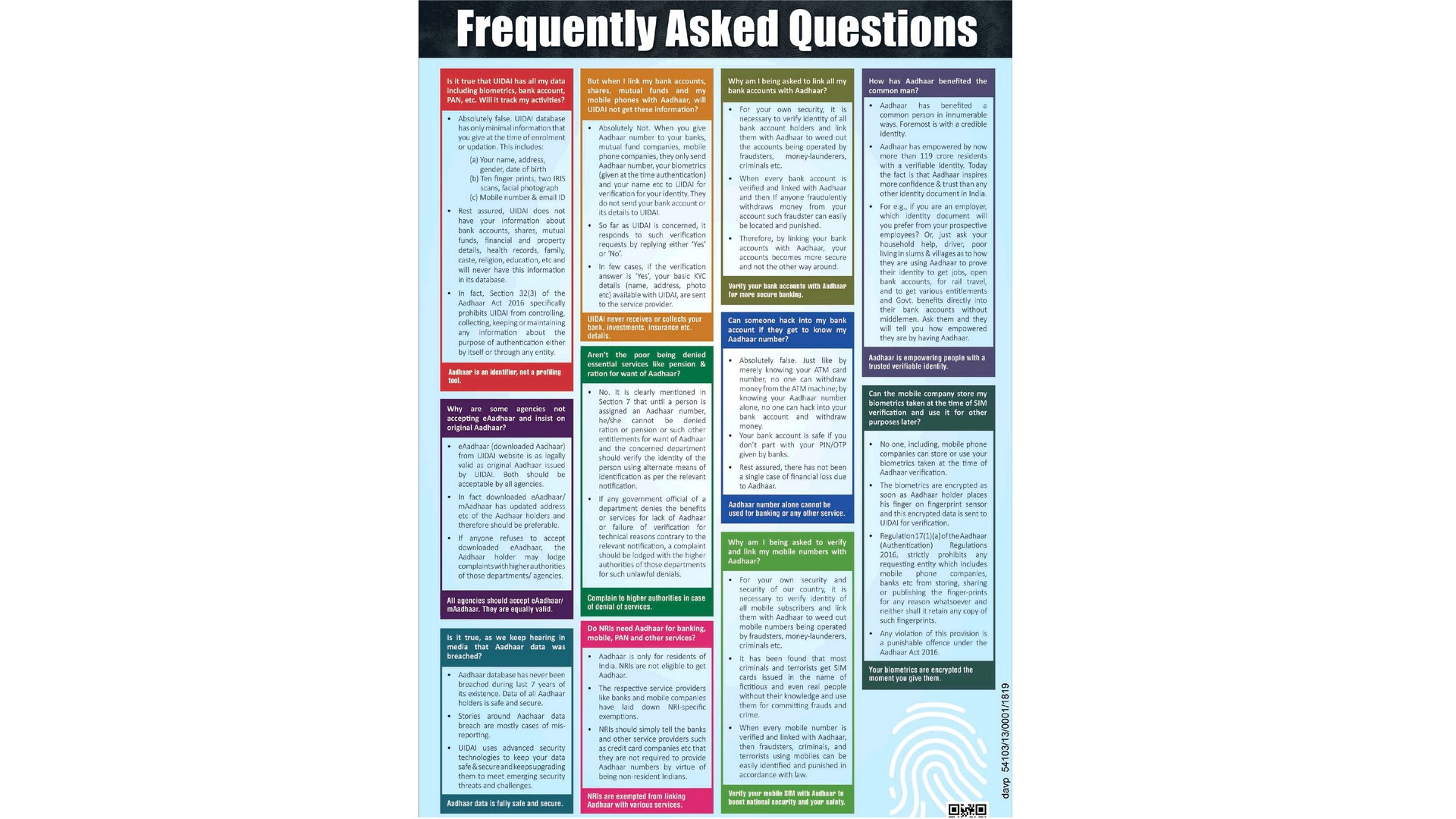 UIDAI's FAQs published in national dailies present a very