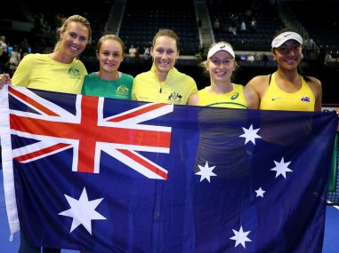 Australian Fed Cup team celebrate after their win over Netherlands. Image courtesy: Twitter/@TennisAustralia