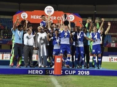 Bengaluru FC players celebrate with the trophy after winning the final 4-1. Super Cup