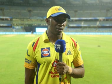 CSK's Dwayne Bravo being interviewed after the match against Mumbai Indians at the Wankhede Stadium. Sportzpics