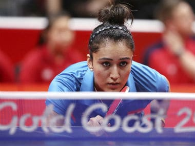 India's Manika Batra at the Gold Coast Commonwealth Games. AP