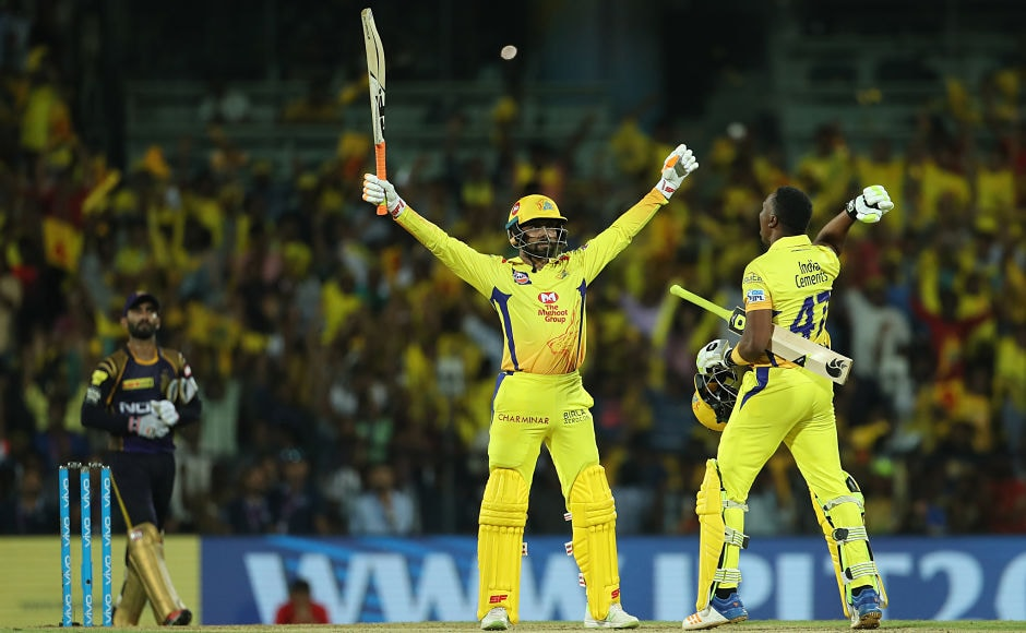 Ravindra Jadeja's six seals a five-wicket win for Chennai Super Kings in their homecoming fixture