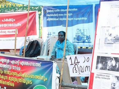 Chithralekha at a sit-in protest in front of the Kerala secretariat. Image courtesy: D Jose