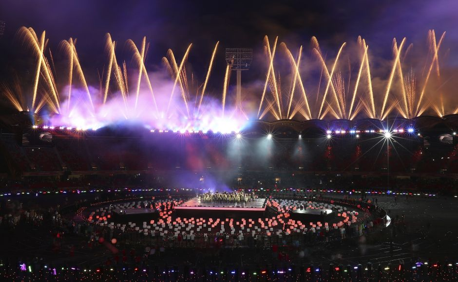 Fireworks light up at Carrara Stadium during the closing ceremony of the 2018 Commonwealth Games. AP