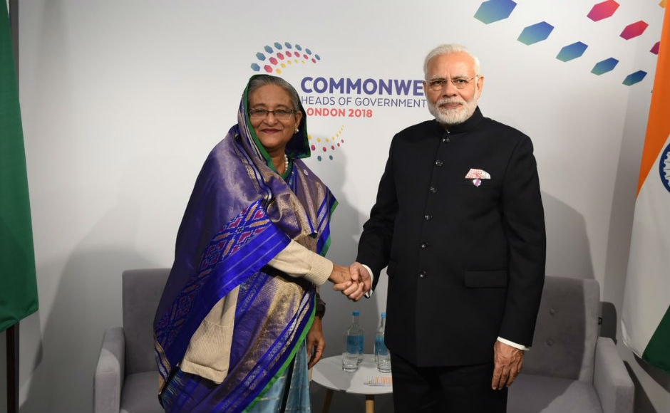 Modi meeting Bangladesh Prime Minister Sheikh Hasina. He held bilateral meetings, including with his counterparts from Bangladesh, Australia and the President of Seychelles, on the sidelines of the multilateral Commonwealth Heads of Government Meeting. Twitter @PIB_India