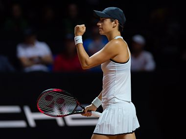 Caroline Garcia celebrates after beating Maria Sharapova. Imag courtesy: Twitter @PorscheTennis