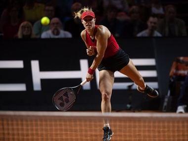 Angelique Kerber in action against Petra Kvitova. Image courtesy: Twitter @PorscheTennis
