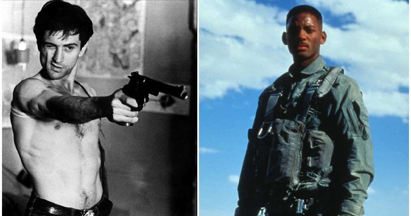 Robert De Niro in Taxi Driver (1976); Will Smith in Independence Day (1996)