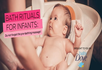 Bath rituals for infants: Do not forget the pre-bathing massage