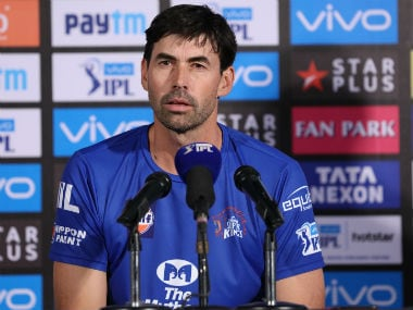 Chennai Super Kings coach Stephen Fleming talks during the post-match press conference. Sportzpics