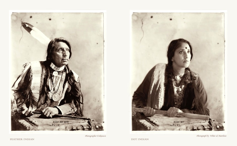 © Annu Palakunnathu Matthew, Feather Indian, Dot Indian, 2004, From the series An Indian from India, 2001–2007, Courtesy of the Artist and sepiaEYE Gallery, New York