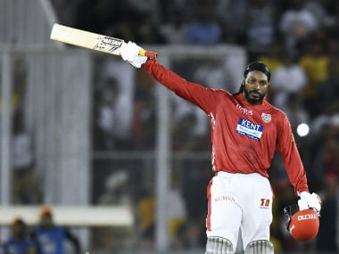 Chris Gayle celebrates his century against Sunrisers Hyderabad. AFP