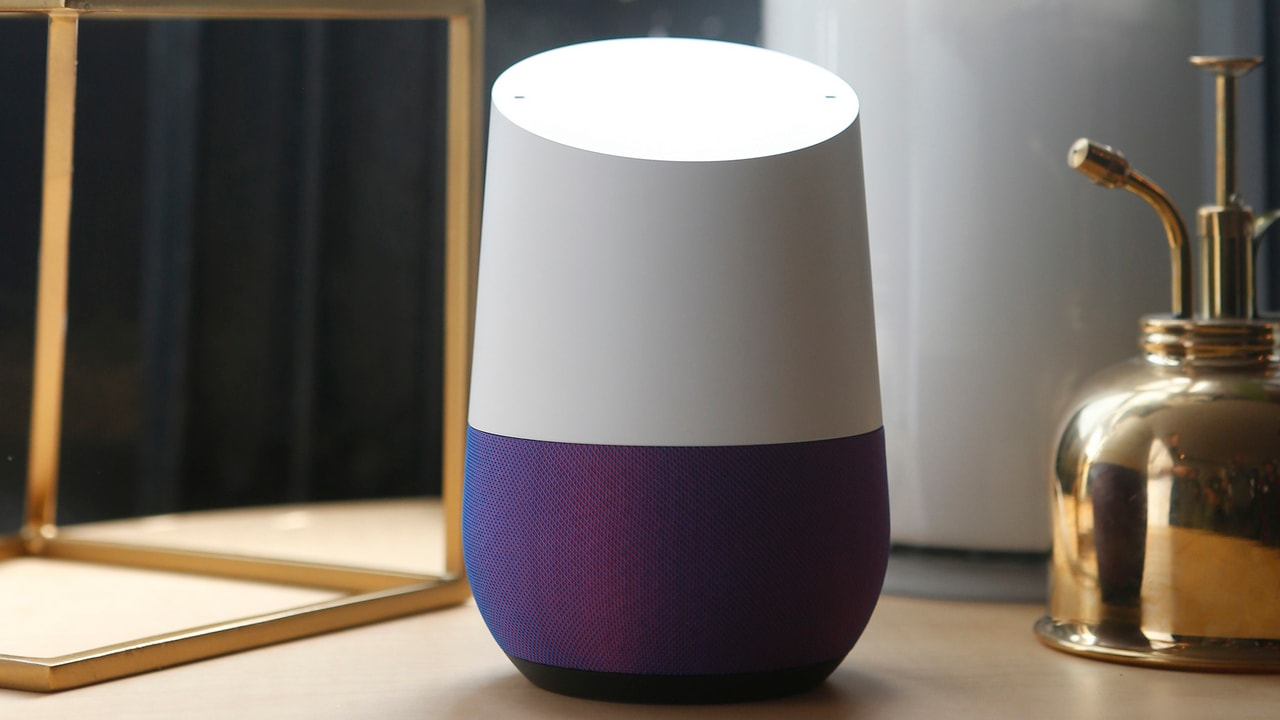 Google Home is displayed during a presentation. Image: Reuters