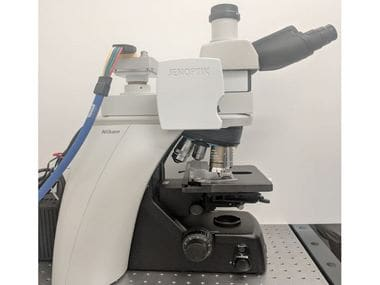 A picture of a Google prototype which has been retrofitted into a typical clinical-grade light microscope. Image: Google