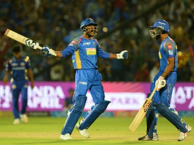 Rajasthan Royals' Krishnappa Gowtham (L) celebrates with teammate Jaydev Unadkat after hitting the winning runs against Mumbai Indians. AFP