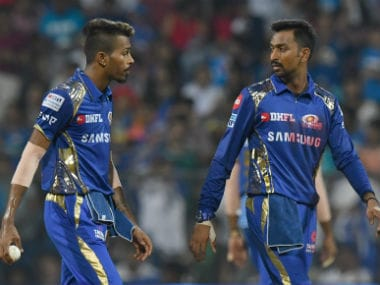 Hardik Pandya (L) and Krunal Pandya during Mumbai Indian's match against Sunrisers Hyderabad. AFP