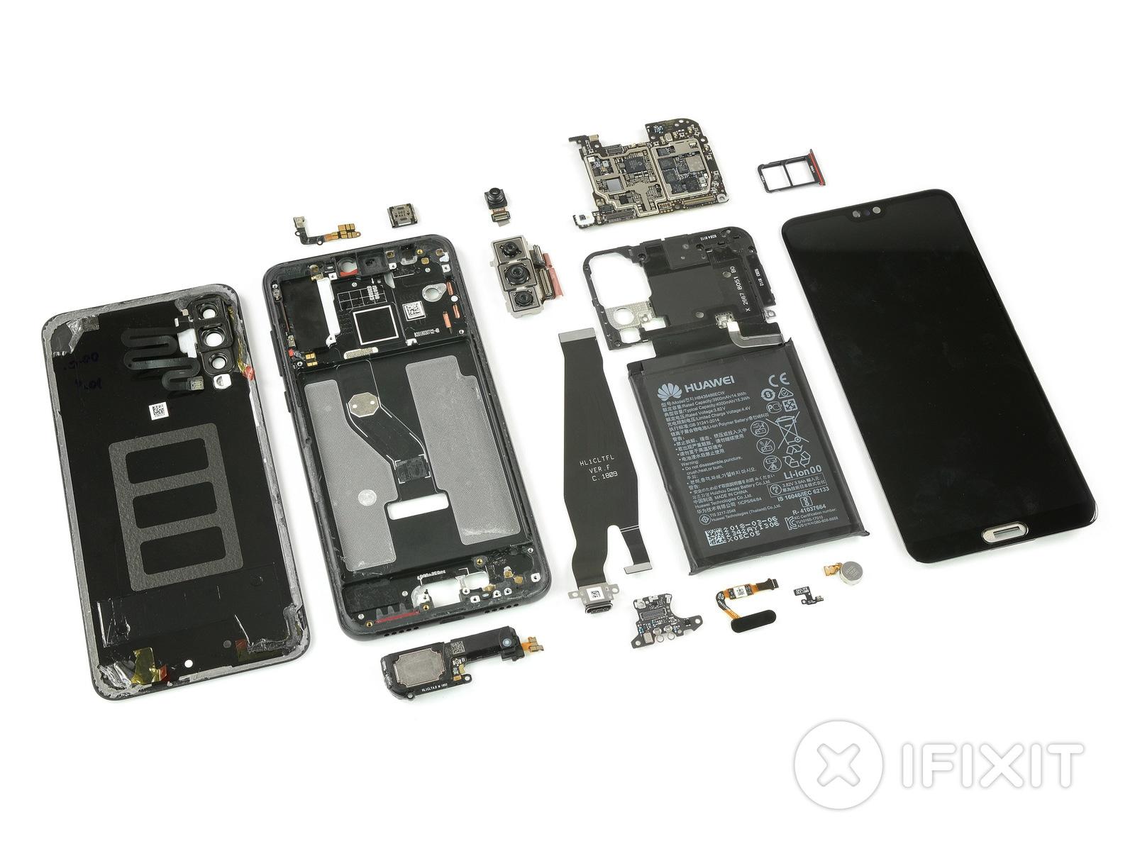 Huawei P20 Pro teardown. Image: iFixit