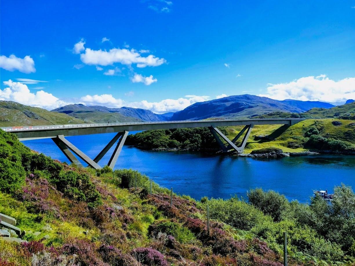 The Kylesku Bridge is a distinctively curved bridge in north-west Scotland.