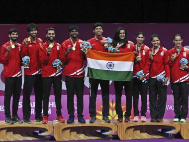 India won their first-ever mixed team gold at Commonwealth Games. AP