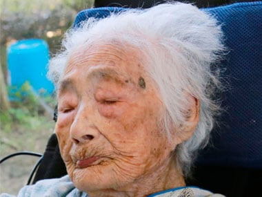 File image of the world's oldest person, 117-year-old Nabi Tajima, who passed away on Saturday.
