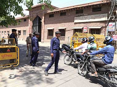 Security officers keep guard outside Central Jail, where controversial godman Asaram Bapu is being lodged in Jodhpur. AP