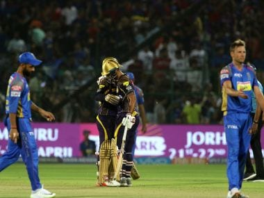 Dinesh Karthik and Nitish Rana of Kolkata Knight Riders shake hands after defeating Rajasthan Royals. Spotzpics