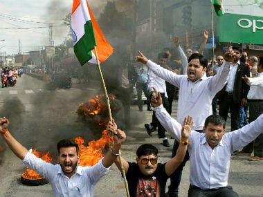 File image of lawyers in Jammu protesting over the Kathua rape and murder case. PTI