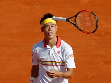 Kei Nishikori tosses his racket during his semi-final match against Alexander Zverev. Reuters