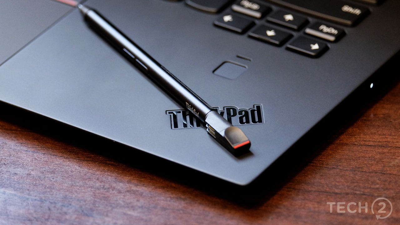 The X1 Yoga comes with an integrated stylus. Image: tech2/Anirudh Regidi