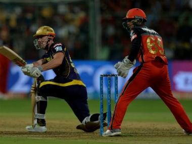 Kolkata Knight Riders' Chris Lynn plays a shot against Royal Challengers Bangalore. AFP