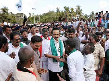 DMK working president MK Stalin during a rally covering the Cauvery basin region of Tamil Nadu, seeking immediate constitution of a Management Board, in Thanjavur. PTI