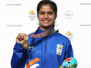 Manu Bhaker reacts after winning the gold medal during 2018 Commonwealth Games. AP