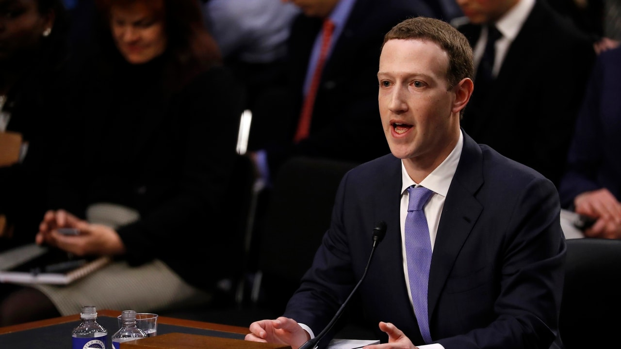 Facebook CEO Mark Zuckerberg testifies before a joint Senate Judiciary and Commerce Committees hearing regarding the company's use and protection of user data, on Capitol Hill in Washington, U.S., April 10, 2018. - HP1EE4A1JLL6O