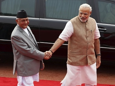 Nepal's prime minister KP Sharma Oli with his Indian counterpart Narendra Modi. Reuters