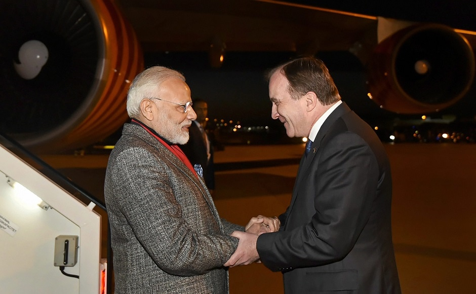 He was received by Prime Minister of Sweden, Stefan Lofven, on his arrival at the airport. PTI