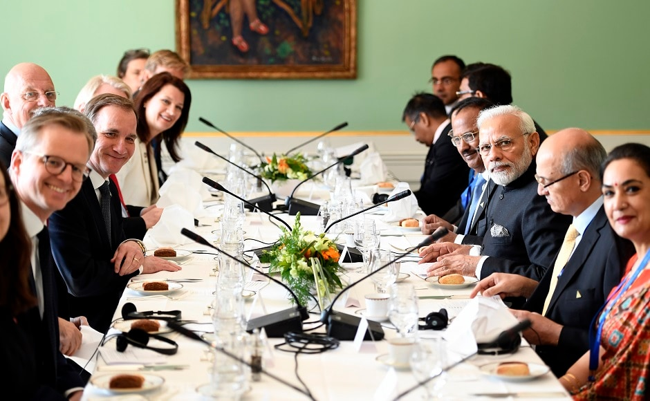 Lofven and Modi attended a working lunch at the government building Rosenbad in Stockholm. The two leaders later had a