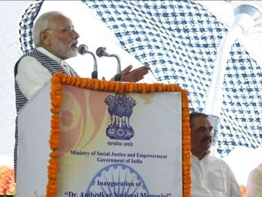 Narendra Modi speaking after inaugurating Ambedkar memorial in New Delhi. Twitter @BJP4India