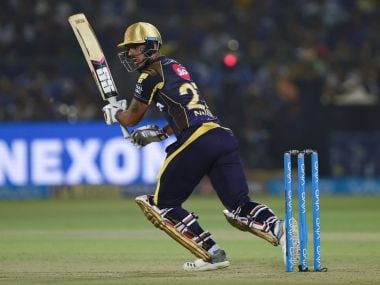 Kolkata Knight Riders' Nitish Rana plays a shot during the match against Rajasthan Royals. AFP