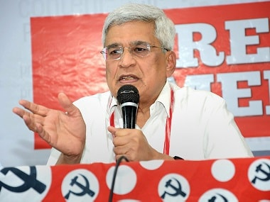 CPM politburo member Prakash Karat addresses a press conference in Hyderabad. PTI