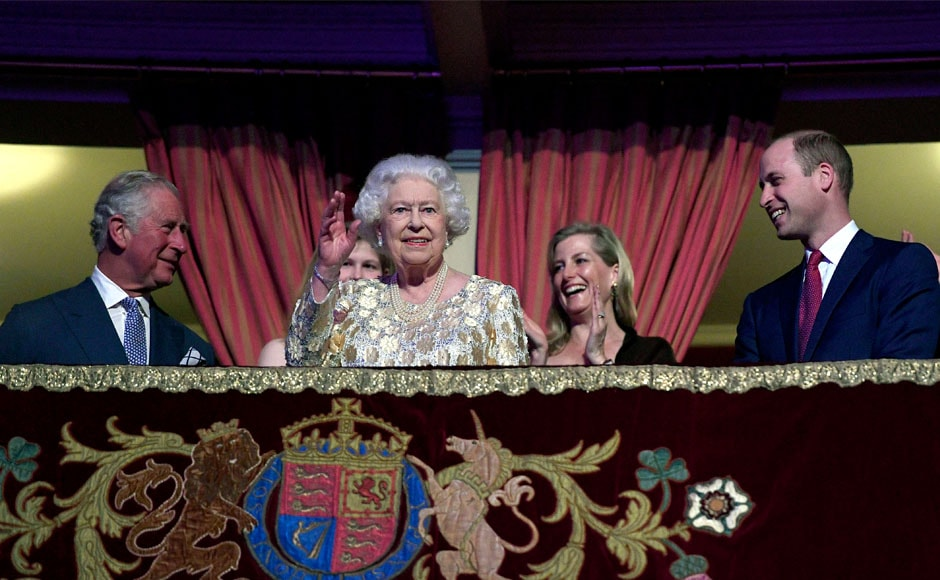 The queen was flanked in the royal box by Charles, heir to the throne, and Prince William, next in the line of succession. The queen celebrates two birthdays every year: Her actual birthday on 21 April, which she usually marks privately with her family, and her