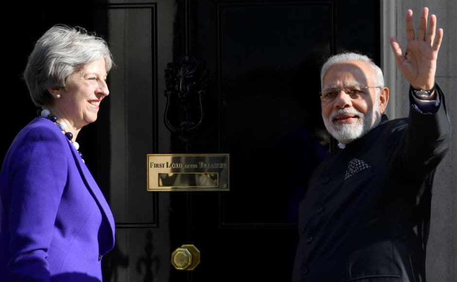 The two leaders discussed a wide range of issues of mutual interest, including cross-border terrorism, visas and immigration. Modi was greeted with the customary handshake by May. Twitter@MEAIndia