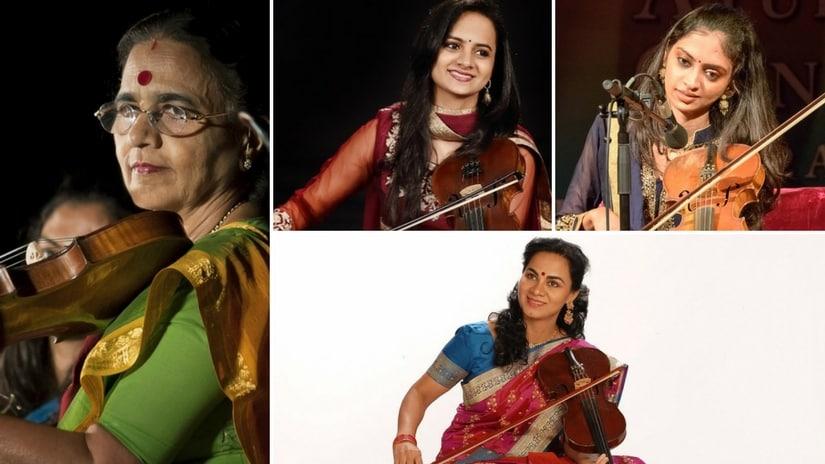 N Rajam along with daughter Sangeeta Shankar and granddaughters Ragini and Nandini Shankar. Facebook