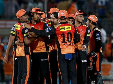 Sunrisers Hyderabad players celebrate after their win over Rajasthan Royals in Jaipur. Sportzpics