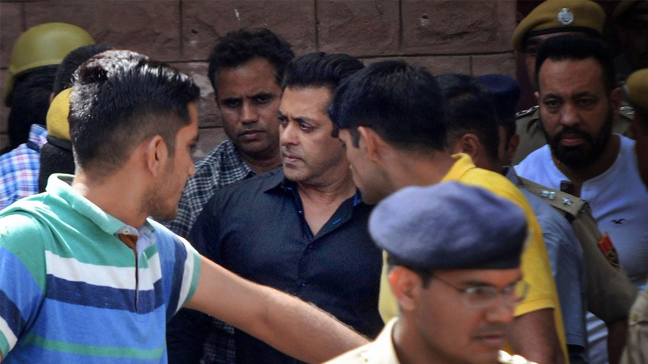 Salman Khan leaving court after a hearing related to the blackbuck poaching case