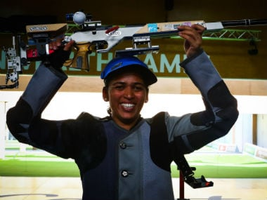 Tejaswini Sawant celebrates her gold in the women's 50m rifle 3 positions shooting final. AFP
