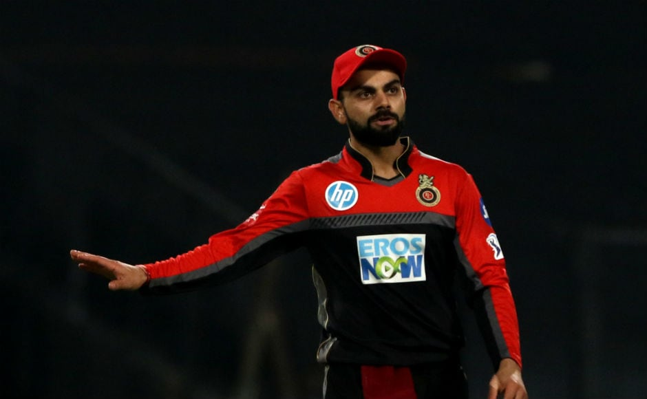 Virat Kohli gestures to one of his fielders during the Kolkata Knight Riders-Royal Challengers Bangalore clash. Sportzpics