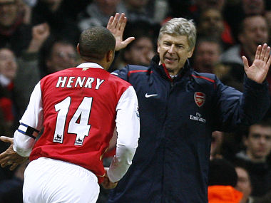 File picture of Thierry Henry (L) and Arsene Wenger. Reuters