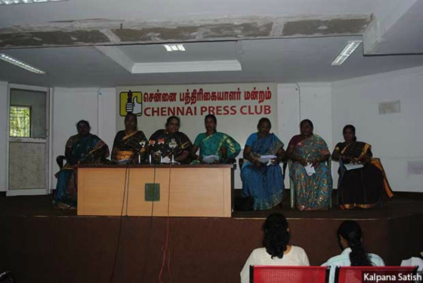 Women leaders from the Tamil Nadu Women Panchayat Presidents' Federation held a press conference in Chennai in 2011 to highlight the vulnerability of dalit women leaders who are particularly vulnerable, demanding adequate protection from the state. Image courtesy: Indiaspend
