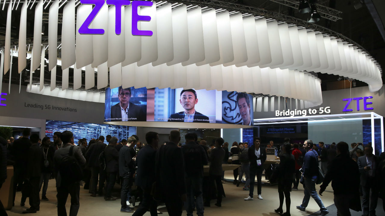 ZTE booth. Image: Reuters.